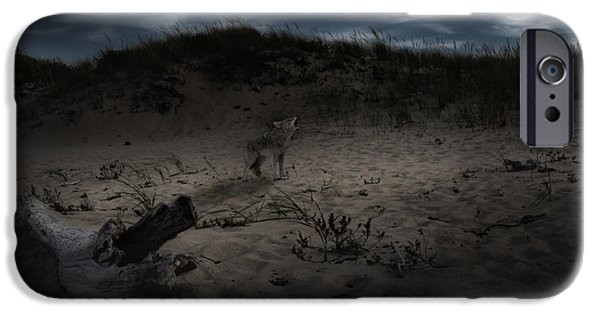 Dog In Landscape iPhone Cases - Bark At The Moon iPhone Case by Bill  Wakeley