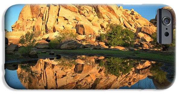 Trees Reflecting In Water iPhone Cases - Barker Dam Pond Reflections iPhone Case by Adam Jewell