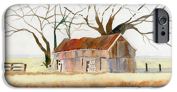 Barns Paintings iPhone Cases - Barn Along the Bank iPhone Case by Marsha Elliott