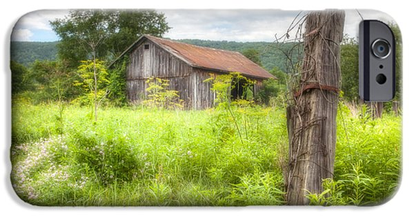 Red Roofed Barn iPhone Cases - Old barn near Stryker Rd. Rustic Landscape iPhone Case by Gary Heller