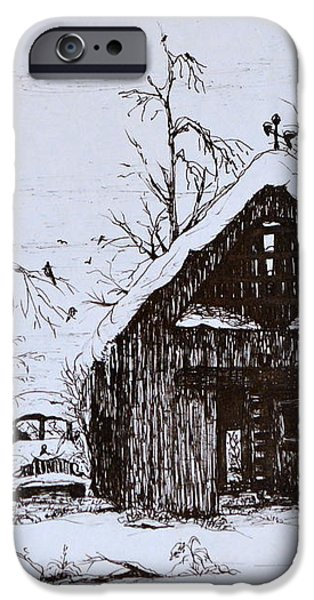 Barn and car iPhone Case by Jeannie Anderson