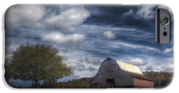 Old Barns iPhone Cases - Barn and Clouds iPhone Case by Tony  Colvin