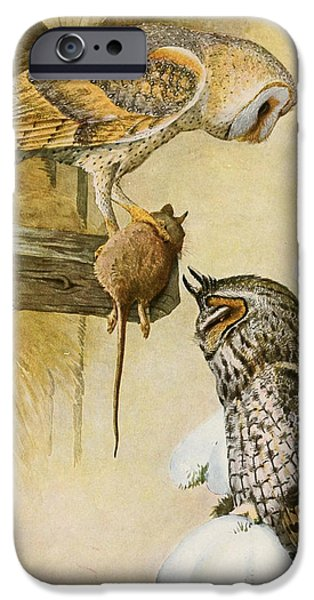 Barns Paintings iPhone Cases - Barn and Long Eared Owls iPhone Case by Louis Agassiz Fuertes
