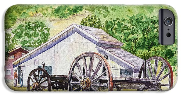 Barns Paintings iPhone Cases - Barn and Old Wagon at Eugene O Neill Tao House iPhone Case by Irina Sztukowski