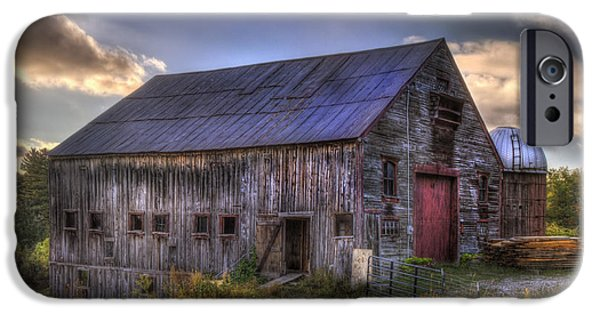 Autumn Scenes iPhone Cases - Barn and Silo in Autumn iPhone Case by Joann Vitali