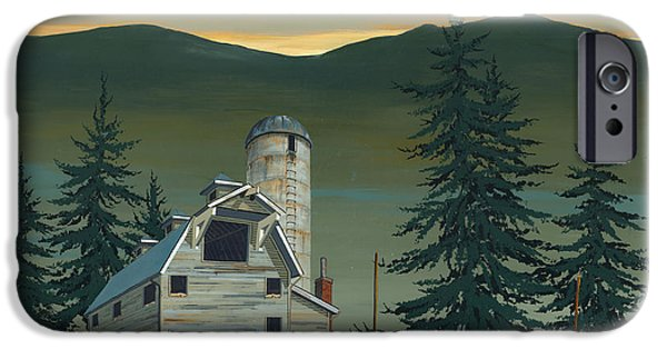 Barns Paintings iPhone Cases - Barn and Silo iPhone Case by John Wyckoff
