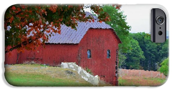 Dog At Door Paintings iPhone Cases - Barn at Olana iPhone Case by Lanjee Chee