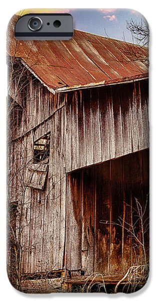 Barn at sunset iPhone Case by Brett Engle