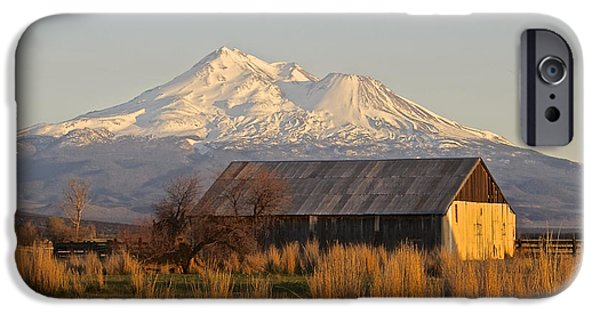 Barns Pyrography iPhone Cases - Barn Below Shasta iPhone Case by DUG Harpster