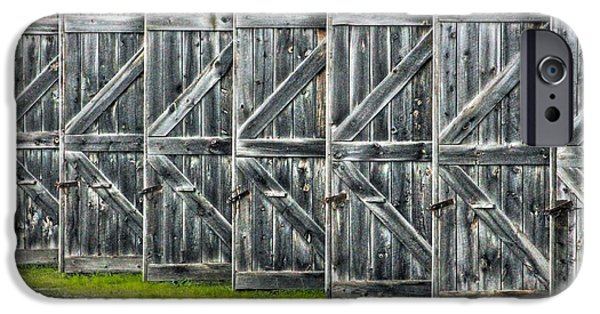 Old Barn iPhone Cases - Barn Door Directional iPhone Case by Karl Anderson