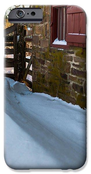 Snow Drifts Photographs iPhone Cases - Barn Drift iPhone Case by Scott Hafer