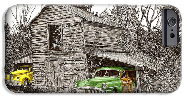 Pen And Ink Of Barn iPhone Cases - Barn Finds classic cars iPhone Case by Jack Pumphrey