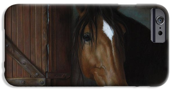 Barns Pastels iPhone Cases - Barn Horse iPhone Case by Julie Olsen