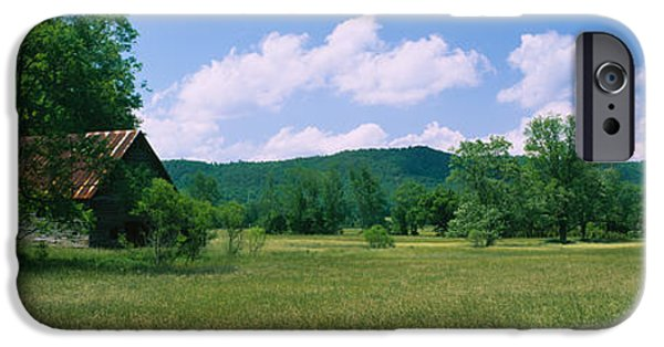 Tennessee Barn iPhone Cases - Barn In A Field, Cades Cove, Great iPhone Case by Panoramic Images