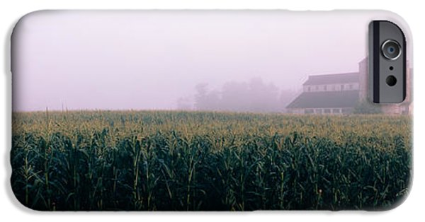 Built Structure iPhone Cases - Barn In A Field, Illinois, Usa iPhone Case by Panoramic Images