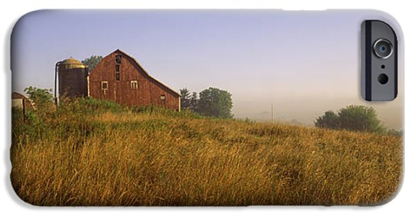 Old Barn iPhone Cases - Barn In A Field, Iowa County iPhone Case by Panoramic Images