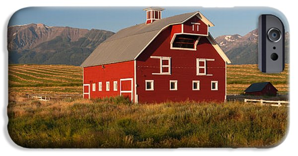 Enterprise Photographs iPhone Cases - Barn In A Field With A Wallowa iPhone Case by Panoramic Images