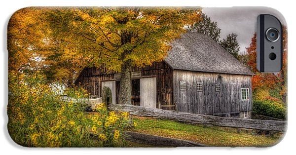 Fall Scenes iPhone Cases - Barn in Autumn iPhone Case by Joann Vitali