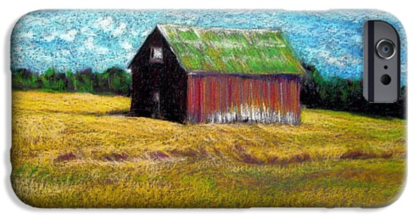 Farm Landscape Pastels iPhone Cases - Barn in Field iPhone Case by Elaine Berger