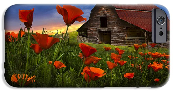 Field. Cloud iPhone Cases - Barn in Poppies iPhone Case by Debra and Dave Vanderlaan