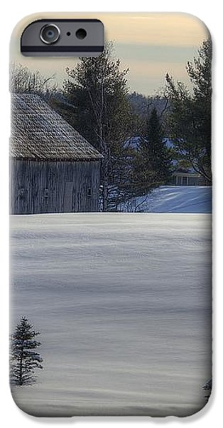Barn in Snow in Color iPhone Case by Donna Doherty