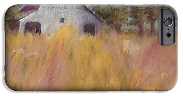 Barn Landscape Pastels iPhone Cases - Barn in the Field iPhone Case by Carolyn Molder