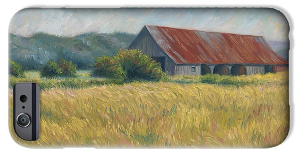 Scenery Paintings iPhone Cases - Barn In The Field iPhone Case by Lucie Bilodeau