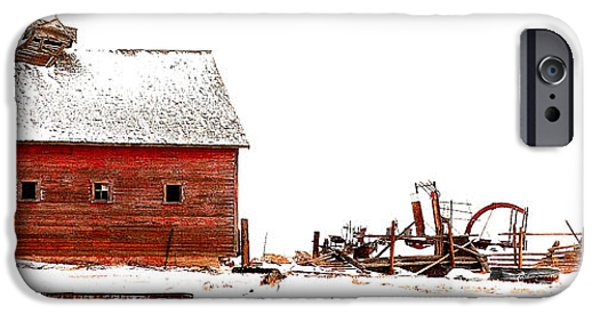 Old Barn iPhone Cases - Barn in the Snow iPhone Case by Steven Reed