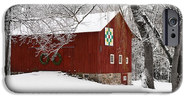 Red Barn In Winter iPhone Cases - Barn in Winter iPhone Case by Karen Salyer