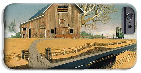 Barns Paintings iPhone Cases - Barn iPhone Case by John Wyckoff