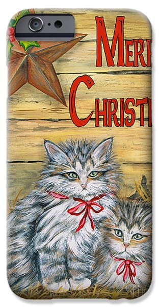 Digital Watercolor Paintings iPhone Cases - Barn Kittens-Merry Christmas iPhone Case by Jean Plout
