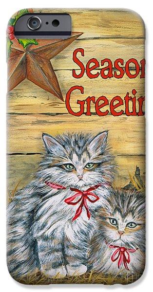 Digital Watercolor Paintings iPhone Cases - Barn Kittens-Seasons Greetings iPhone Case by Jean Plout