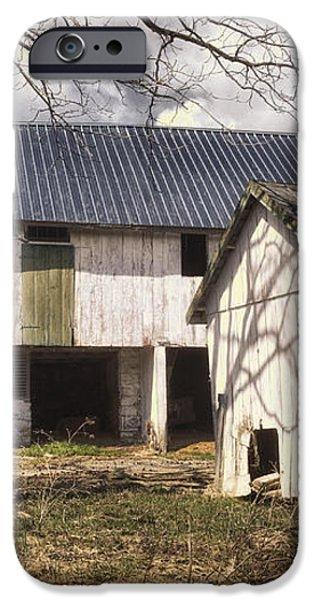 Barn Near Utica Mills Covered Bridge iPhone Case by Joan Carroll