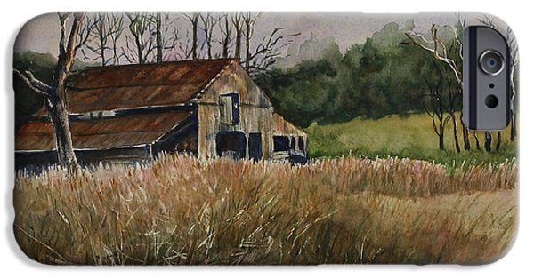 Old Barns iPhone Cases - Barn Off the Road iPhone Case by Janet Felts