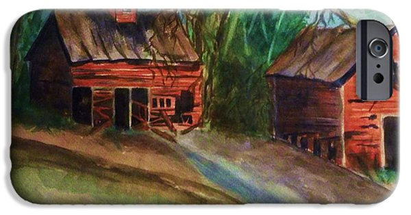 Old Barn iPhone Cases - Barn - Old Dilapidated Red Barn iPhone Case by Ellen Levinson