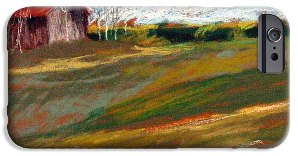 Barn Landscape Pastels iPhone Cases - Barn on Patten Hill iPhone Case by Lenore Gaudet