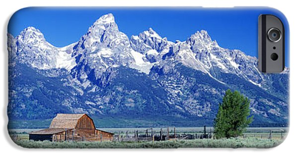 Shed iPhone Cases - Barn On Plain Before Mountains, Grand iPhone Case by Panoramic Images