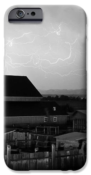 Barn On The Farm and Lightning Thunderstorm BW iPhone Case by James BO  Insogna