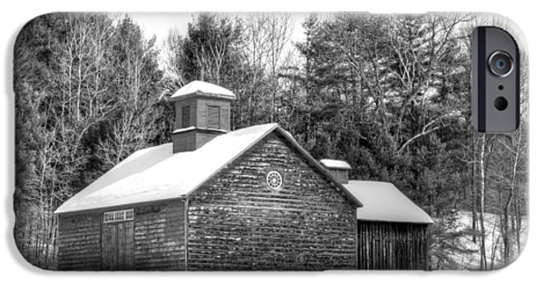 New England Snow Scene iPhone Cases - Barn on Tyringham Road - Black and White - Square iPhone Case by Geoffrey Coelho