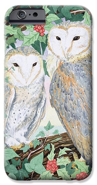 Woodland Scenes iPhone Cases - Barn Owls iPhone Case by Suzanne Bailey