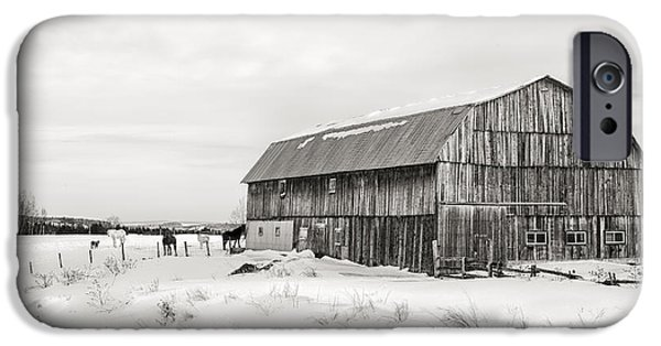 Farming Barns iPhone Cases - Barn Quebec province in  black and white iPhone Case by Jane Rix
