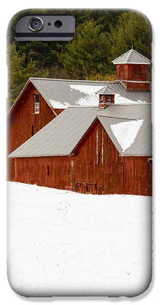 Red Barn In Winter iPhone Cases - Barn Red iPhone Case by Douglas Stalker