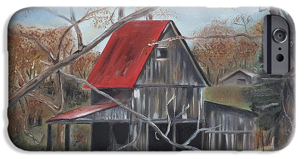 Old Barns iPhone Cases - Barn - Red Roof - Autumn iPhone Case by Jan Dappen