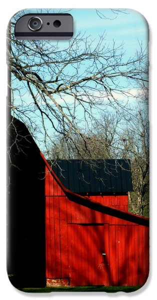 Tennessee Barn iPhone Cases - Barn Shadows iPhone Case by Karen Wiles