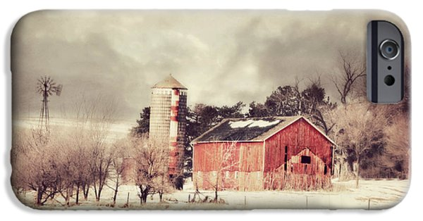Barn Swallow Digital Art iPhone Cases - Barn Silo and Windmill iPhone Case by Julie Hamilton