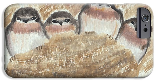 Barn Swallow Paintings iPhone Cases - Barn Swallow Chicks iPhone Case by Conni Schaftenaar Elderberry Blossom Art