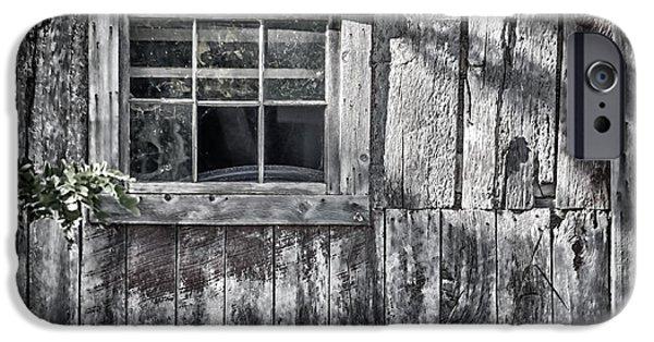 Board iPhone Cases - Barn Window iPhone Case by Joan Carroll