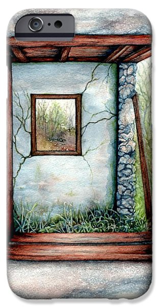 Worn In iPhone Cases - Barn window Peering through time iPhone Case by Janine Riley