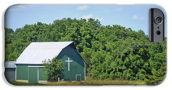 Old Barn iPhone Cases - Barn With a Cross iPhone Case by Cricket Hackmann