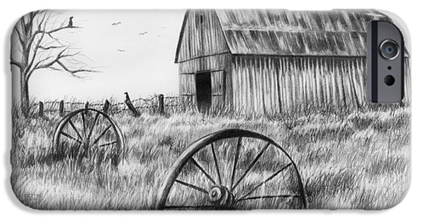 Crows Drawings iPhone Cases - Barn With Crows iPhone Case by Lena Auxier